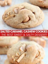 stacked up cashew caramel cookies