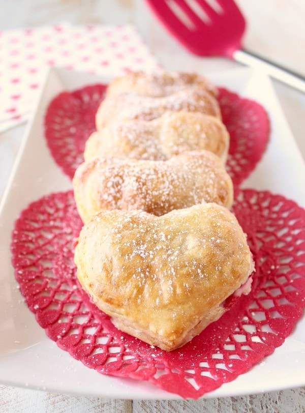 Heart Shaped Strawberry Cheesecake Puff Pastry Pies