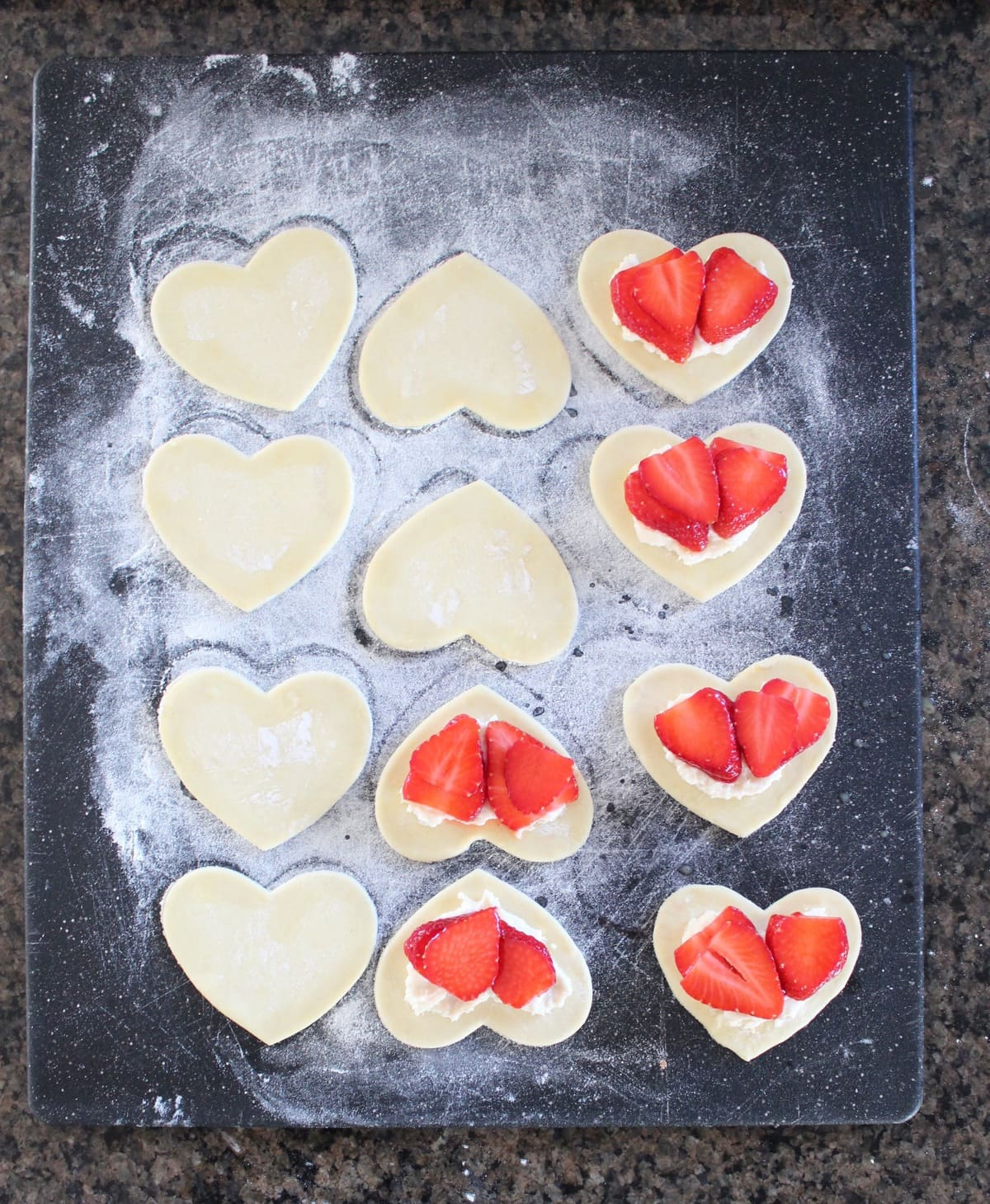 Heart Shaped Strawberry Cheesecake Puff Pastry Pies Recipe