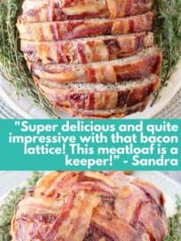 Bacon wrapped meatloaf on plate with herbs