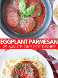 Overhead image of eggplant parmesan with pasta on plate and in skillet with sauce