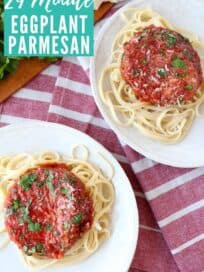 Overhead image of eggplant parmesan with pasta on plate
