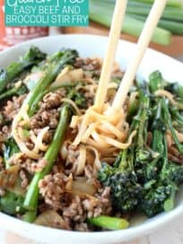 Ground beef and broccoli stir fry in bowl with chopsticks