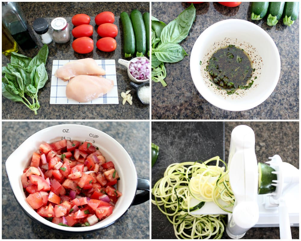 Instructional image of how to make bruschetta chicken zoodle bowls