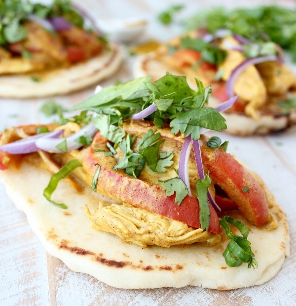 Indian Tacos with Curry Chicken and Red Onion