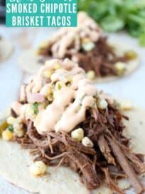 shredded beef on tortilla topped with corn salsa and creamy chipotle sauce