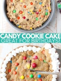 overhead image of cookie candy cake