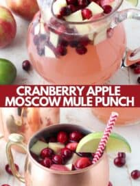 Moscow mule punch with diced apples and cranberries in glass pitcher and copper mug