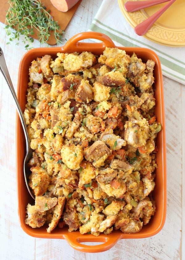 The most delicious and easy Gluten Free Stuffing Recipe made with gluten free cornbread, white bread and sweet potatoes!