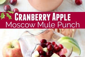 Cranberry apple moscow mule punch in copper mug and glass pitcher