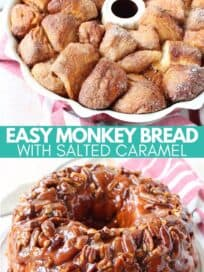 monkey bread in bundt pan and on plate, topped with salted caramel and pecans