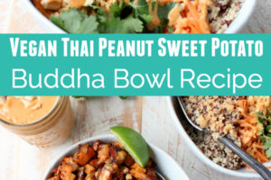 Quinoa, sweet potatoes, carrots and cilantro in bowls with peanut sauce and lime wedges