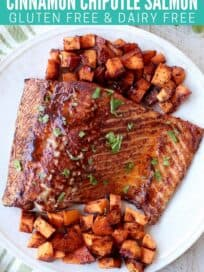 Overhead image of glazed baked salmon on plate with diced sweet potatoes