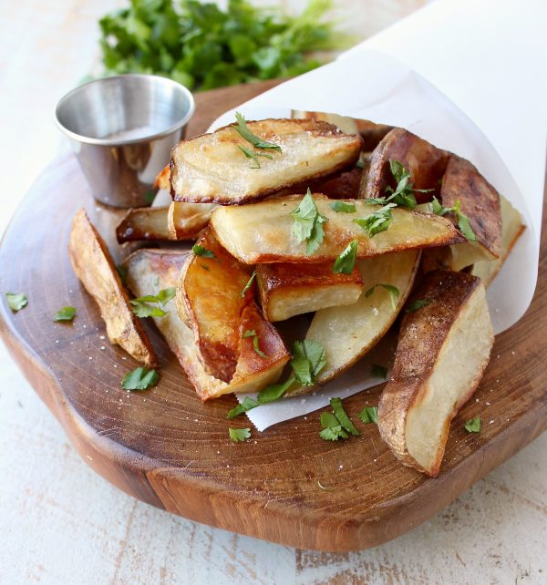 Roasted salt and vinegar potatoes are a super simple side dish that's gluten free and vegan, and takes only about 5 minutes to prep!