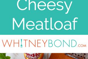"""Square cheesy meatloaf with buffalo sauce on white plate, with text overlay """"Buffalo Cheesy Meatloaf WhitneyBond.com"""""""