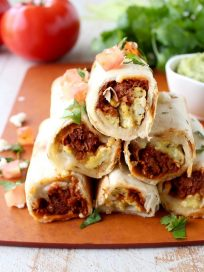 Breakfast Taquitos are the perfect easy breakfast recipe, made with chorizo, or soyrizo for vegetarians, scrambled eggs & pepper jack cheese!