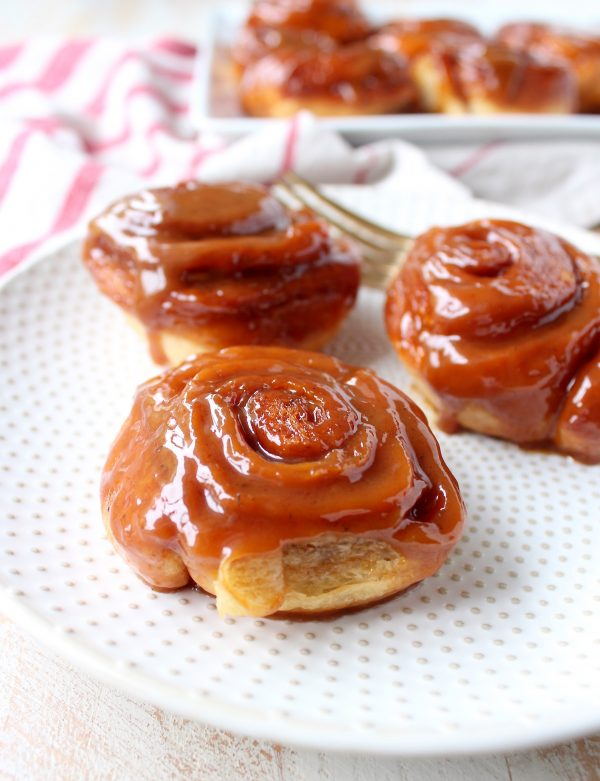Salted Caramel Cinnamon Rolls are sweet, decadent and delicious, they're made with canned crescent roll dough for an easy breakfast or brunch recipe!