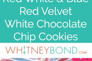 Red velvet cookies with white chocolate chips and blueberries on white plate, on top of red white and blue striped towel with red spatula, images with text overlay