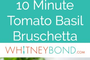 Tomato Basil Bruschetta on top of toasted baguette slices on plate, two images with text overlay