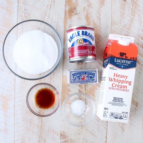 ingredients for salted caramel ice cream