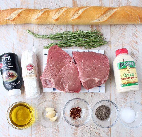 Top sirloin is seasoned & sous vide, then sliced & served atop a crispy baguette with horseradish goat cheese in this delicious steak crostini recipe!