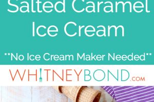 This No Churn Salted Caramel Ice Cream Recipe is made without an ice cream maker, making it an easy homemade ice cream recipe that is totally delicious!