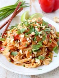 Thai Peanut Chicken Noodles are a must-try dish in the slow cooker, they're easy to make, full of flavor and are sure to become your new favorite recipe!