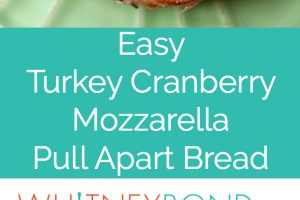 Leftover Thanksgiving turkey & cranberry sauce is made into a delicious pull apart bread recipe filled with mozzarella cheese & topped with rosemary butter!