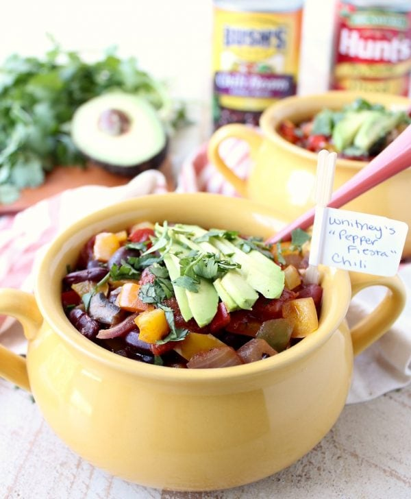Fajita veggies, chili beans and fire roasted tomatoes create the most delicious vegetarian chili recipe, made in under 30 minutes!
