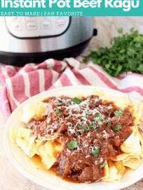 Image of shredded beef ragu, served over wide noodles on plate with fork, with text overlay on the image