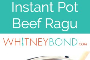 Beef ragu, served over noodles on plate and in Instant Pot