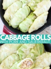 cabbage rolls in skillet with wooden spoon