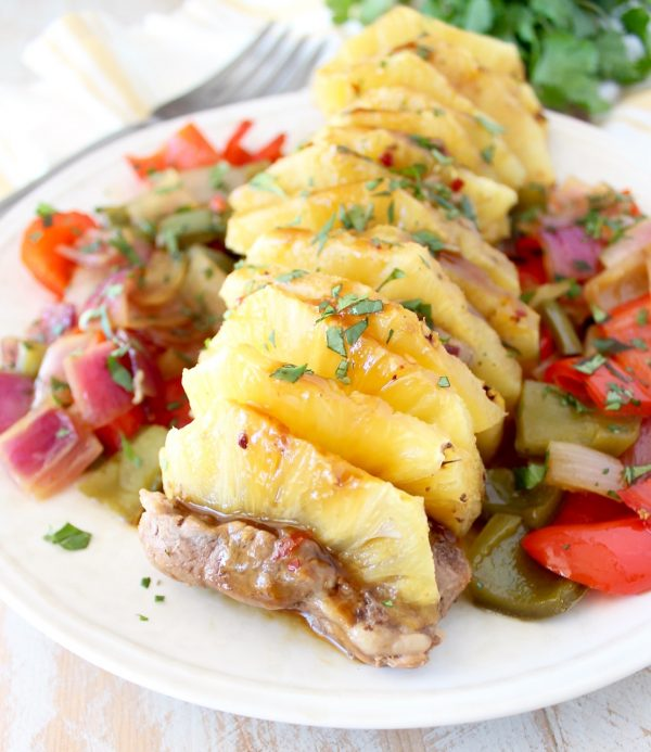 This Teriyaki Pork Tenderloin recipe with fresh pineapple is made with Whole30 compliant teriyaki sauce for a lean, healthy, gluten free, Whole30 recipe that's easy enough to whip up for a weeknight dinner!