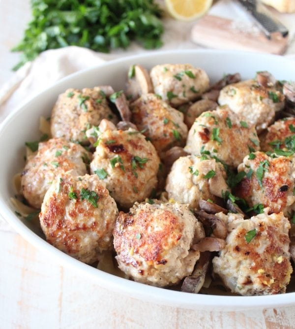 Classic chicken marsala is given a fun twist in this recipe for Chicken Marsala Meatballs made by cooking pork and chicken meatballs in a creamy mushroom marsala sauce!