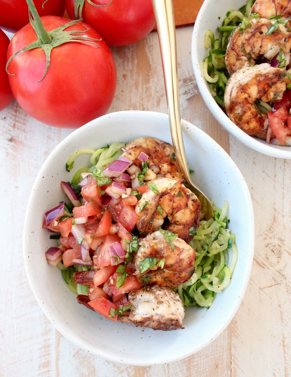 Grilled Italian Shrimp with Bruschetta and Zucchini Noodles