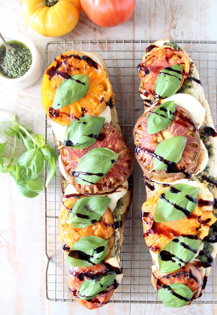 Grilled Caprese French Bread Pizza with Heirloom Tomatoes and Balsamic Reduction