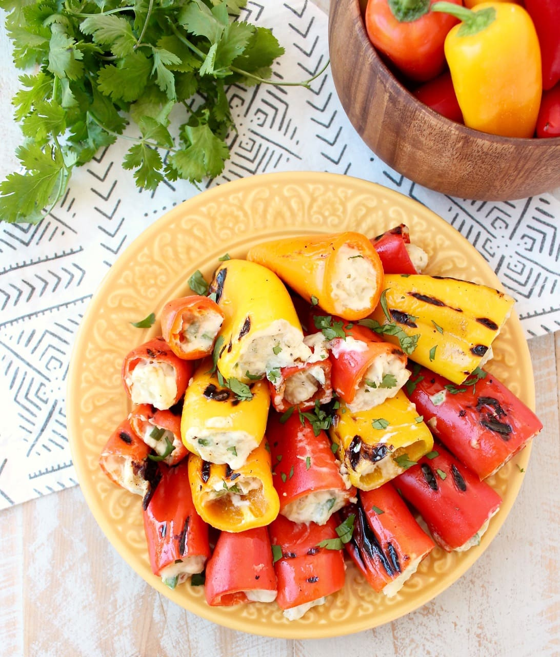 Red Yellow and Orange Grilled Stuffed Peppers