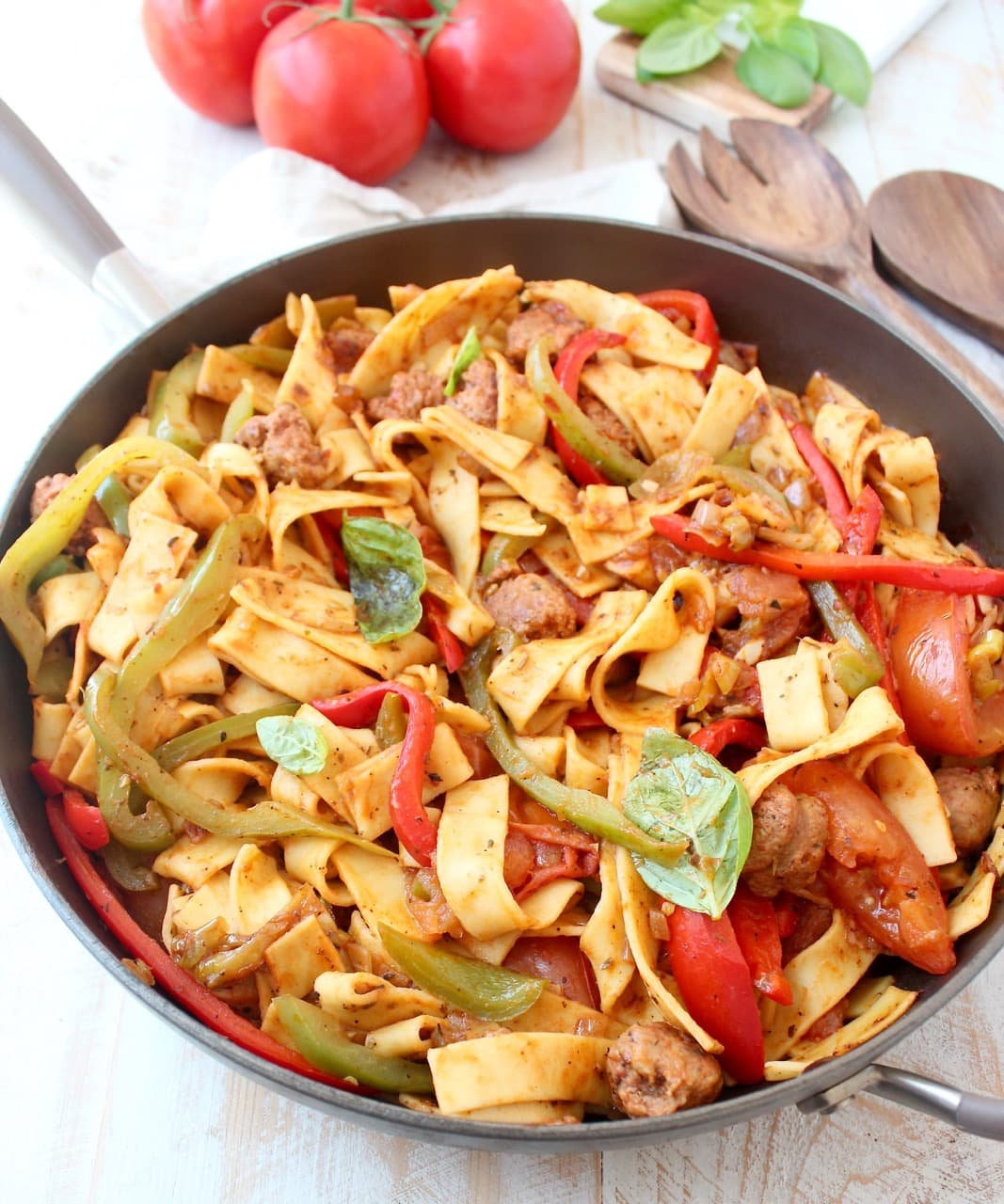 Italian Drunken Noodles with Peppers and Sausage