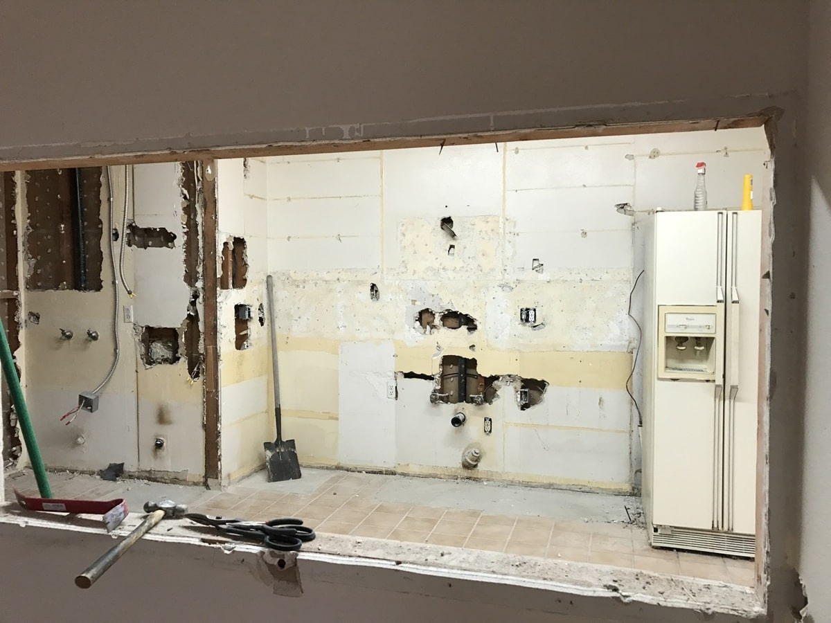 Demo of kitchen cabinets and appliances