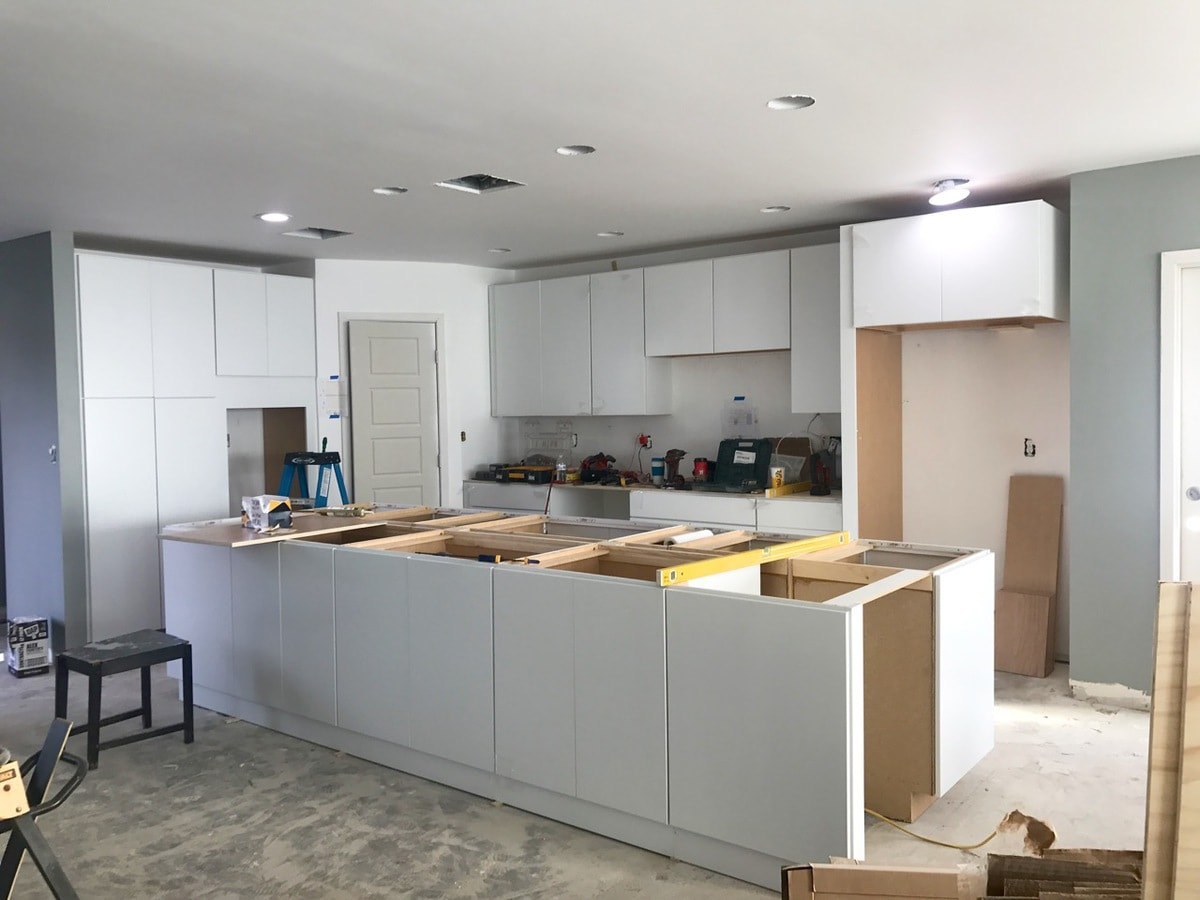 New white kitchen cabinets and Island