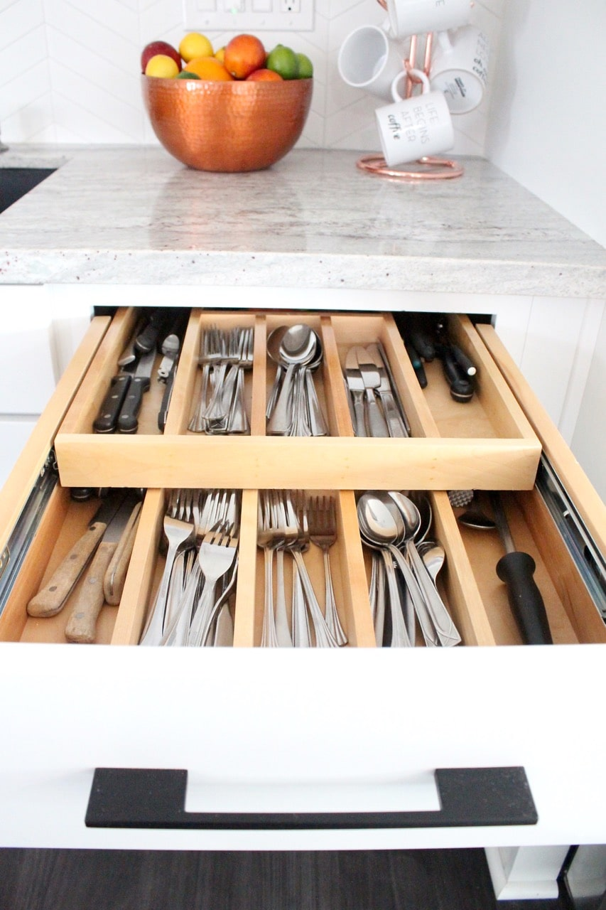 kitchen drawer insert for two levels of silverware