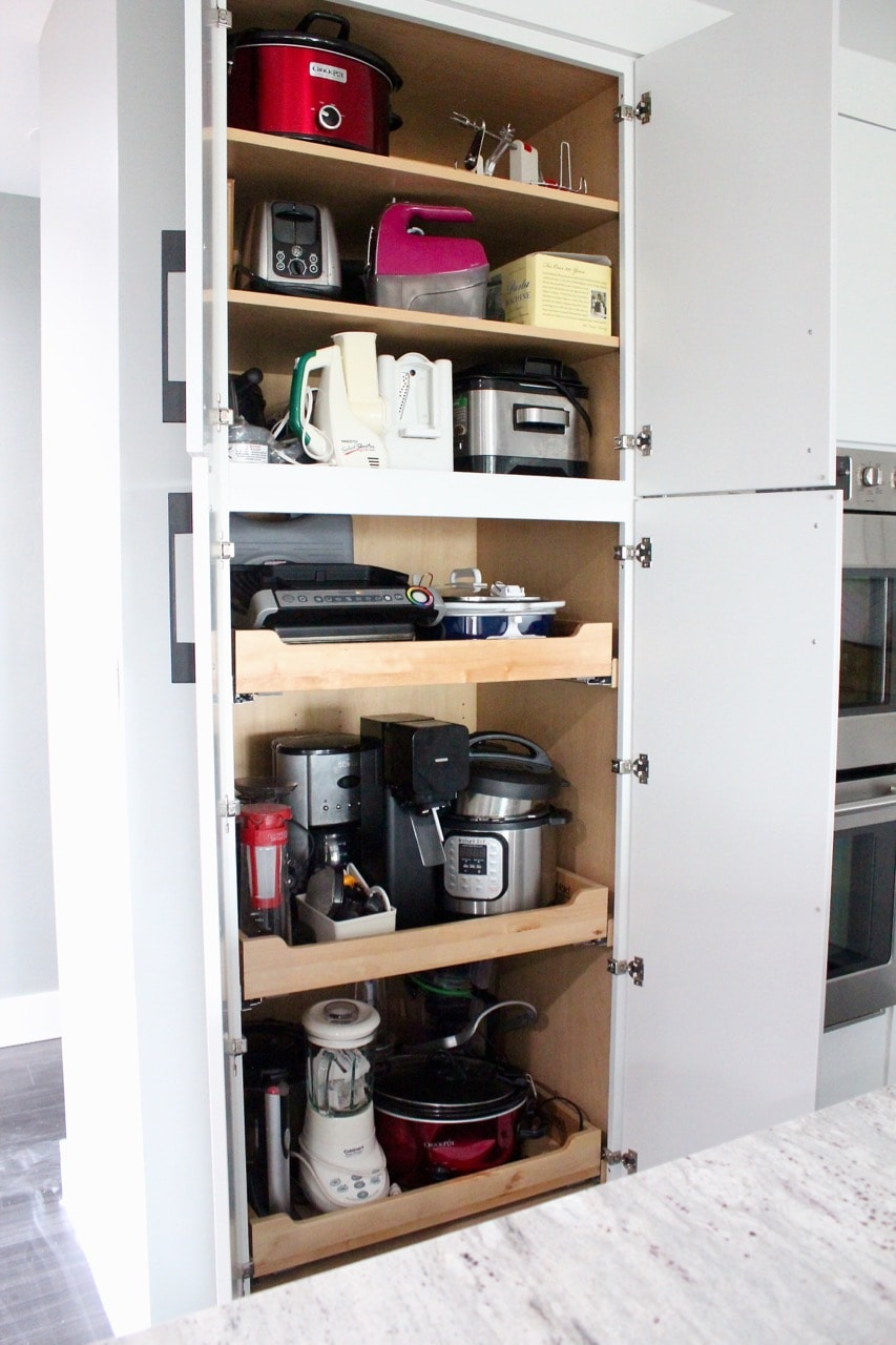 Appliance pantry with pull out shelves for crock pots, instant pots, blenders and toasters
