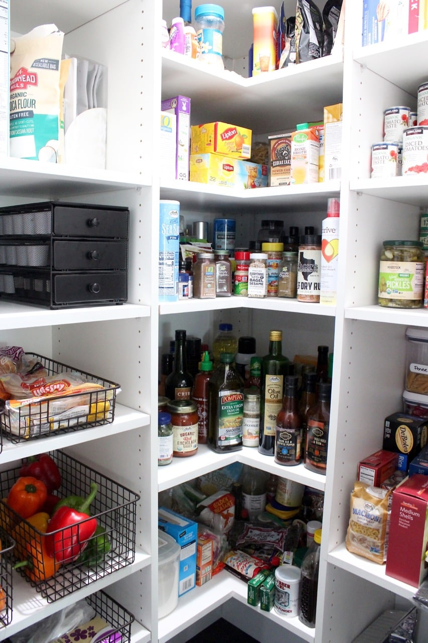 Kitchen pantry organization for sauces, canned goods and baking supplies
