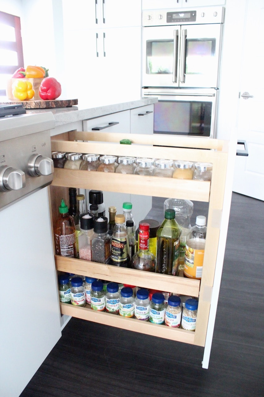 Pull out kitchen cabinet organizer for spices, oils and vinegars