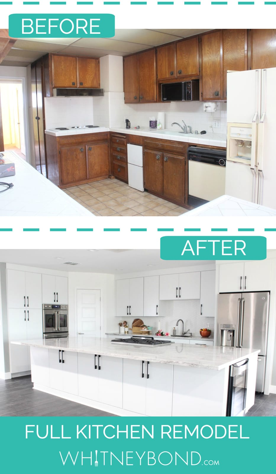 Before and After Kitchen Remodel Images with Text