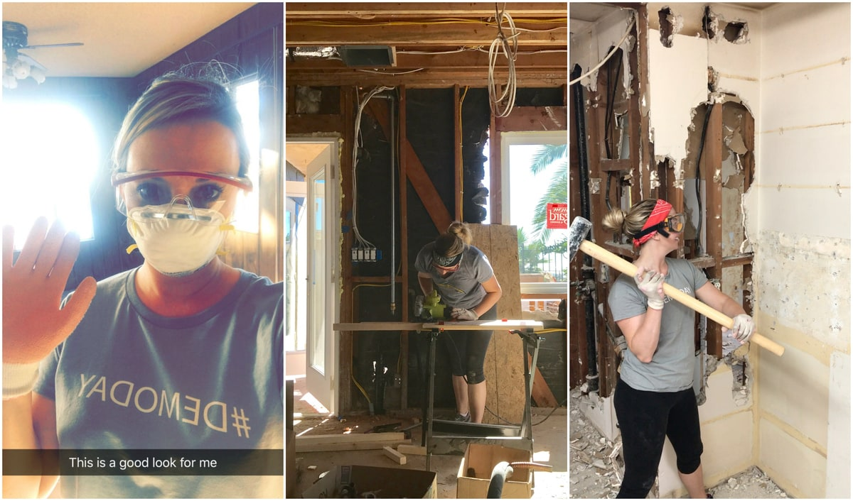 Whitney Bond using a sledge hammer to knock down a wall and sawing wood for framing.