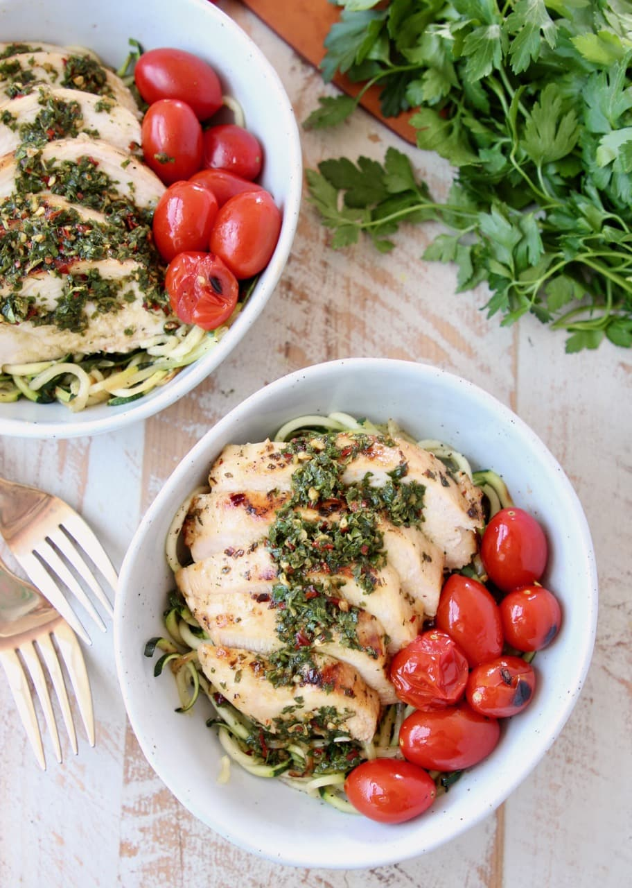 Sliced Grilled Chimichurri Chicken with Zucchini Noodles, Cherry Tomatoes and Fresh Parsley