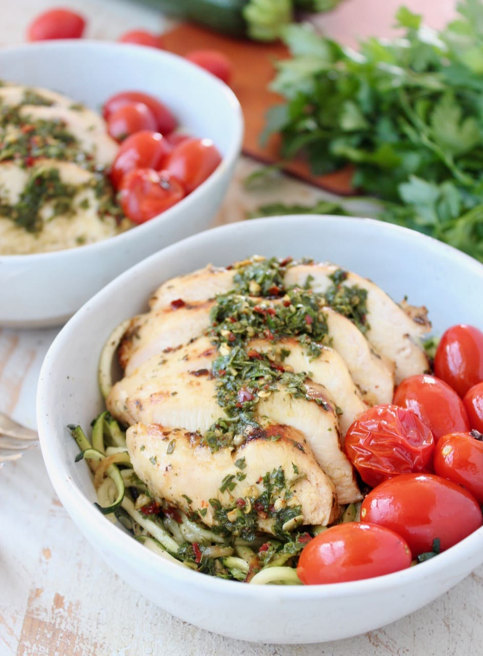 Sliced Chimichurri Chicken with Chimichurri Sauce, Zucchini Noodles and Cherry Tomatoes