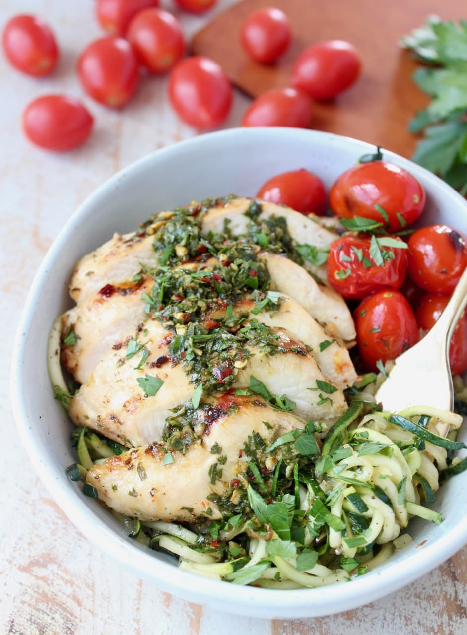 Chimichurri Grilled Chicken, Zucchini Noodles and Roasted Cherry Tomatoes