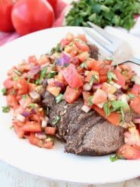 Instant Pot Beef topped with Tomato Basil Bruschetta